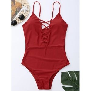 Red Criss Cross onepiece swimsuit